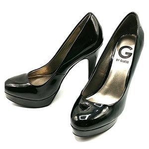 Guess Black Patent Platform Heels